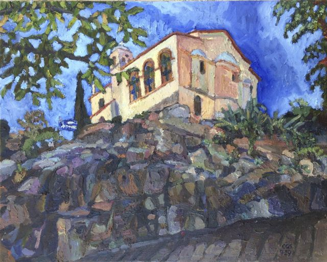 The View from the Boulder at the Church Dedicated to Prophet Elias – East View, Kavala, 41 x 51 cm, oil on canvas, 2019